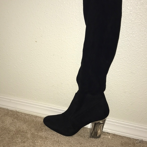 ad3c2f4cb1 Shoes | Over The Knee High Black Boots With Clear Heel | Poshmark